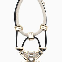 Rope and PU Strap Aztec Necklace