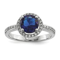 Sterling Silver White & Blue CZ Brilliant Embers Ring