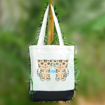 Cat bag American shorthair heart tote bag 2 size Two tone off-white/black , shopping tote bag, printed tote bags