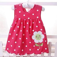 2016 New Summer Cute Baby Girl 100% Cotton Newborn Infant Baby Princess Casual  Dress 0-18 Months Baby Clothes Lovely Cartoon