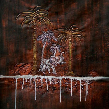 Elephant and Oasis Oil Painting