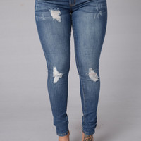 Oh My God Becky Jeans - Medium Blue