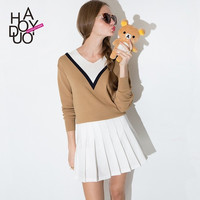 Haoduoyi 2015 new winter fashion, wind hit color V collar sweater hedging all-match long sleeved women sweater = 1945745540