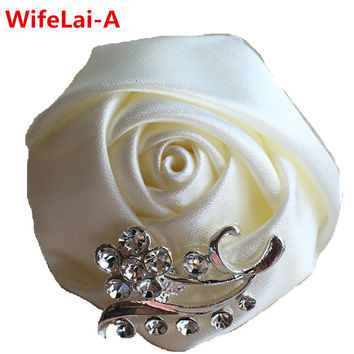 Low Price High Quality 10 piece/lot Crystal Brooch Wedding Bouquet Decor Boutonniere Satin Rose Groom Corsage Brooch Flower Pin