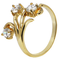 Solid 14K Yellow Gold Triple Round Gem Cubic Zirconia Toe Ring   Body Candy Body Jewelry