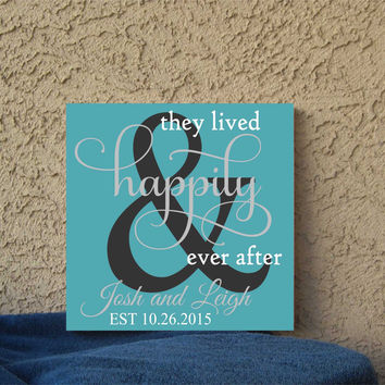 Lived Happily Ever After Save the Date Hand Painted 12 x 12 Canvas Wall Art Wedding Gift