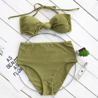 CUPSHE Green Tea Halter Bikini Set High-waisted Swimsuit Bathing Suit  Brazilian Biquini Monokini  Maillot De Bain