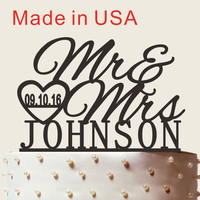 Personalized Wedding Cake Topper With Wedding Date, Custom Name Cake Topper, Mr and Mrs Cake Topper, Wedding Cake Topper CT001