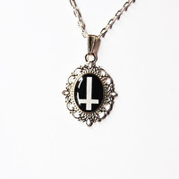 Cross Of St. Peter (Inverted Cross) - Handmade Vintage Cameo Pendant Necklace