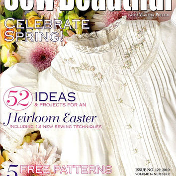 Sew Beautiful Magazine March April 2010 Issue 129 Easter Smocking Plates Baby Sacque Panel Dress Sewing Patterns Madeira Embroidery Heirloom