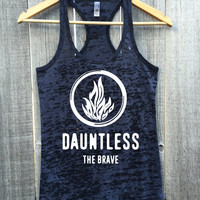 DAUNTLESS THE BRAVE Fire Logo Workout Athletic Fitness Gym Racerback Tank Top