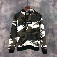 One-nice™ Supreme Camouflage Embroidery Top Sweater Hoodie