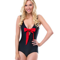 SALE! 1950s Style Black With Red Bow Tank Swimsuit