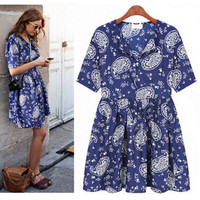 Female Women's Fashion Stylish Plus Size New Arrival Chiffon Floral Summer Fashion Short Sleeve One Piece Dress = 5826398273