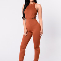 Beautiful Romance Jumpsuit - Rust