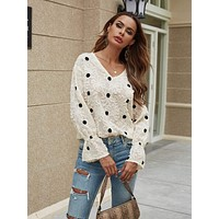 Frayed Floral Polka Dot Blouse