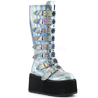 Demonia Damned Silver Holo Knee High Boots
