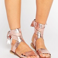 ASOS FAMOUS Leather Tie Leg Sandals at asos.com