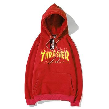 THRASHER fashion hot seller couple flame letters casual hoodie #6