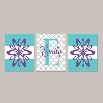 Teen Girl Wall Art Room Decor Floral Flower Monogram Name Initial Set of 3 Prints Or Canvas College Dorm Girl Decorations