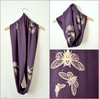 Organic bamboo terry infinity / circle scarf in plum purple with cicada insect print