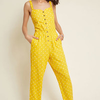 Every Waking Momentum Cotton-Linen Jumpsuit in Yellow Dotted
