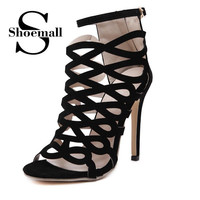 Summer Gladiator Sandals Boots Women's Shoes Suede High-Heeled Ankle Buckle 2016 New Fashion Casual Sandles Woman shoes