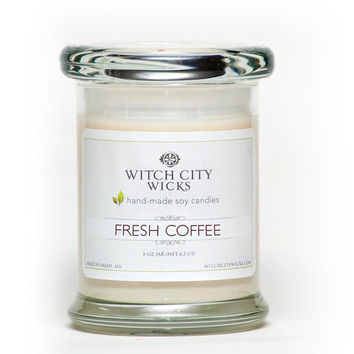 Fresh Coffee scented soy wax jar candle, Wedding / Bridesmaid / Mother's Day gift