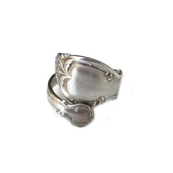 Spoon Ring, Rogers Brothers, Silver Plated, Wrap Bypass Ring, Vintage Ring, Vintage Jewelry