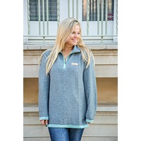 Jadelynn Brooke: Boyfriend Quarter Zip Pullover {Grey/Mint}