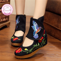 Hummingbird Chinese Style Noble Mary Janes Inside Increased Embroidery 5cm Pumps Cloth Shoes Woman Dance Shoes
