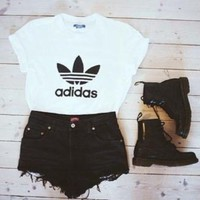 "Women ""Adidas"" Fashion Print T-Shirt Top Tee"