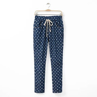 2015 New Woman's Pants Fashion Five-Pointed Star & Dot Print Drawstring Large Size Full Length Pants Jeans For   Woman A808