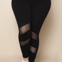 Sheer Mesh Panel Plus Size leggings