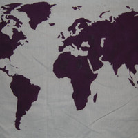World Map Wall Tapestry in Purple