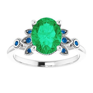 Sterling Silver 9x7mm Oval Green Emerald & Ceylon Blue Accented Engagement Ring