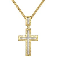 Custom Nugget Design Religious Cross Pendant Chain