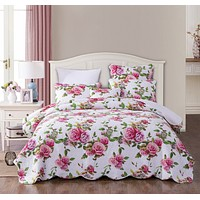 DaDa Bedding Romantic Roses Lovely Spring Pink Floral Quilted Scalloped Bedspread Set (JHW879)