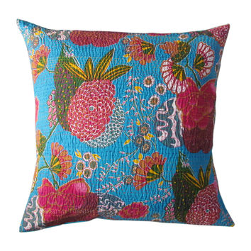 "24"" Inch Blue Indian Floral Kantha Decorative Throw Pillow Cushion Cover"