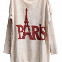 Red Tower Long Sleeve Loose Sweater