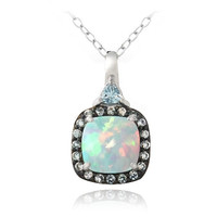 Sterling Silver Created White Opal & Blue Topaz Square Necklace