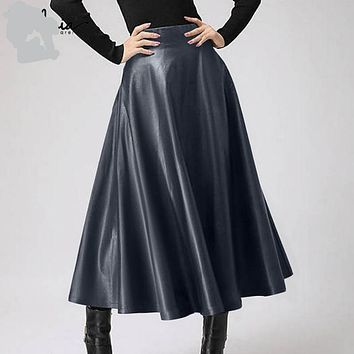 Plus Size Women's Fit and Flare Leather Midi Skirt