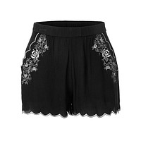 Lightweight Scallop Hem Floral Summer Shorts with Elastic Waistband (CLEARANCE)
