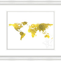 Gold Foil World Map Print, World Map Instant Download, Printable Gold Foil Wall Decor, Gold Foil Wall Art, Gold Foil Map Print, Wall Map