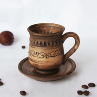 Ceramic mug with saucer Ceramics and pottery Redware coffee mug Hand made tea mug Art pottery Pottery cup Stoneware cup Brown mug