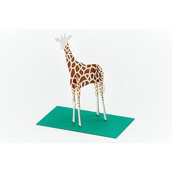 Hand-Drawn Note Standing Message Animal Card with Envelope (Giraffe)