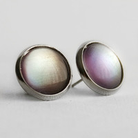 Silver Lining Post Earrings in Silver - SIlver, Purple, Blue Colour Shifting Stud Earrings