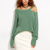 Green Long Sleeve Off Shoulder Cutout Sweater