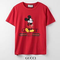 GUCCI New fashion letter stripe mouse print couple top t-shirt Red