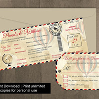 DIY Printable Wedding Boarding Pass Luggage Tag Template | Invitation | Editble MS Word file | Instant Download | Vintage